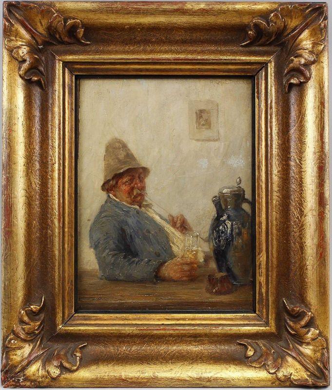8360055 Ölgemälde sign. Richard Starcke Porträt Der Raucher Weimarer Malschule