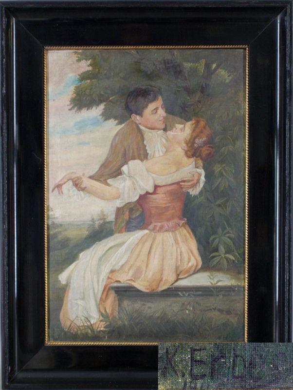 8360078 Erbes, K., Romantische Szene Liebespaar Öl-Gemälde