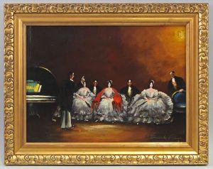 8360101 Modernes Öl-Gemälde signiert Klavier Konzert Szene Stuckrahmen