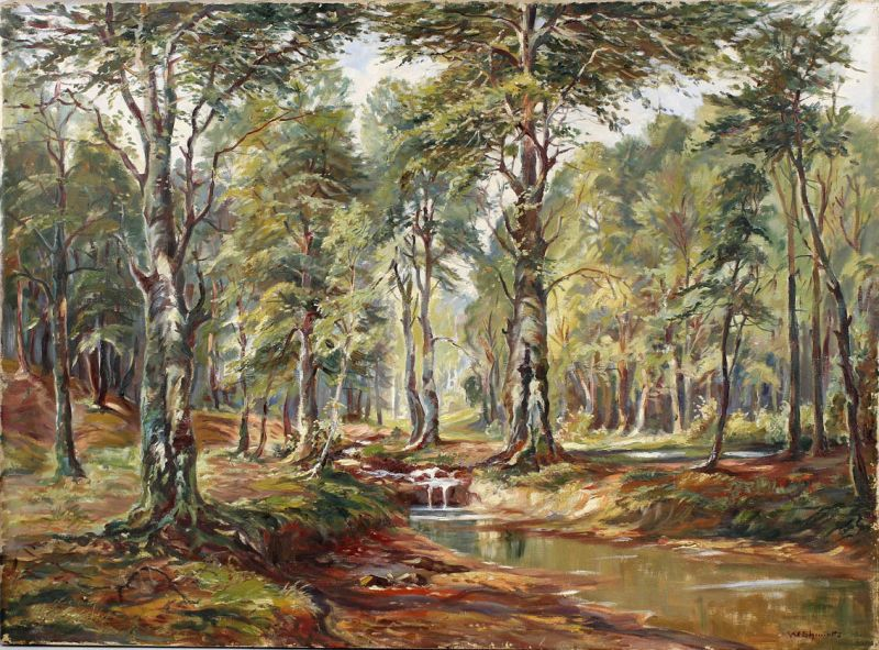 8360150 Ölgemälde Waldlandschaft W. Schmidt