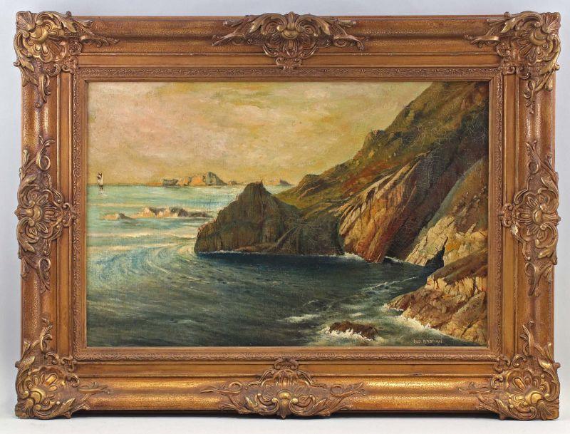 8360120 Öl-Gemälde signiert Rudolf Bastian Felsige Küste Maritime Landschaft