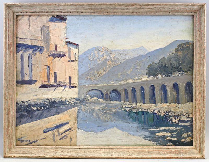8360111 Öl-Gemälde sign. Kauffer Ansicht von Sospel Brücke französische Alpen