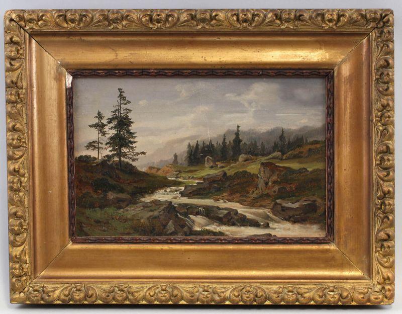 8360067 Öl-Gemälde signiert Friedrich Metz Alpen Landschaft Gebrigsbach