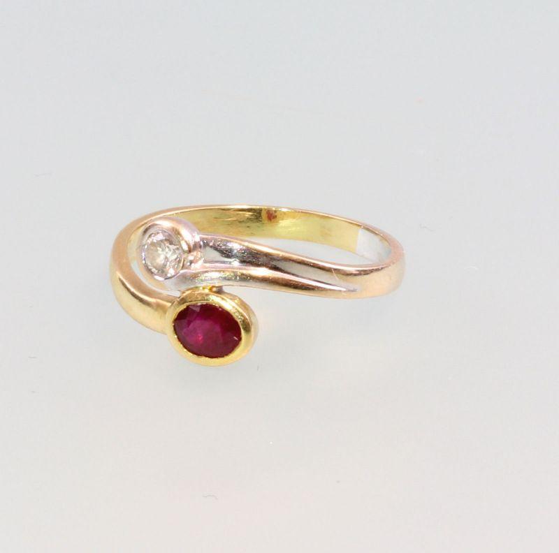 8325199 Brillant-Rubin-Ring 750er Gold Gr.55