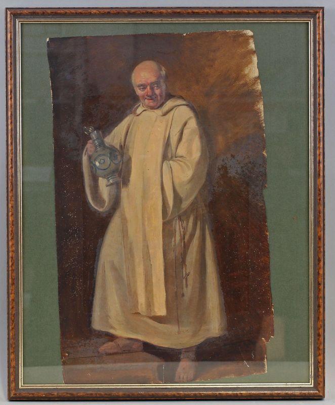 8360136 Öl-Gemälde Mönch mit Weinkrug Porträt um 1900