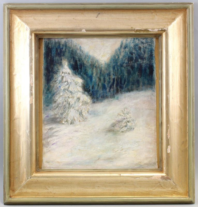 8360167 Öl-Gemälde Winter Landschaft Schnee abstrakt Ende 20. Jh.
