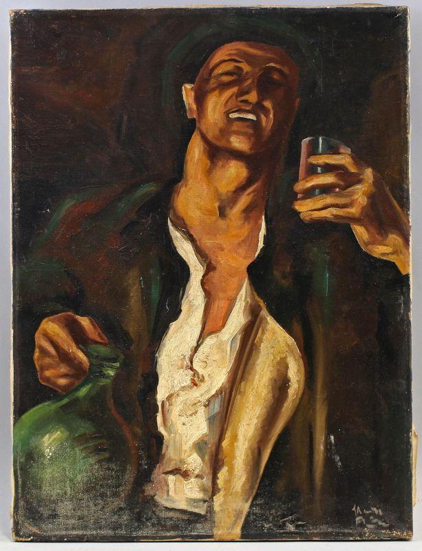 8360058 Öl-Gemälde signiert um 1920 Bildnis eines Weintrinkers Porträt Wirtshaus