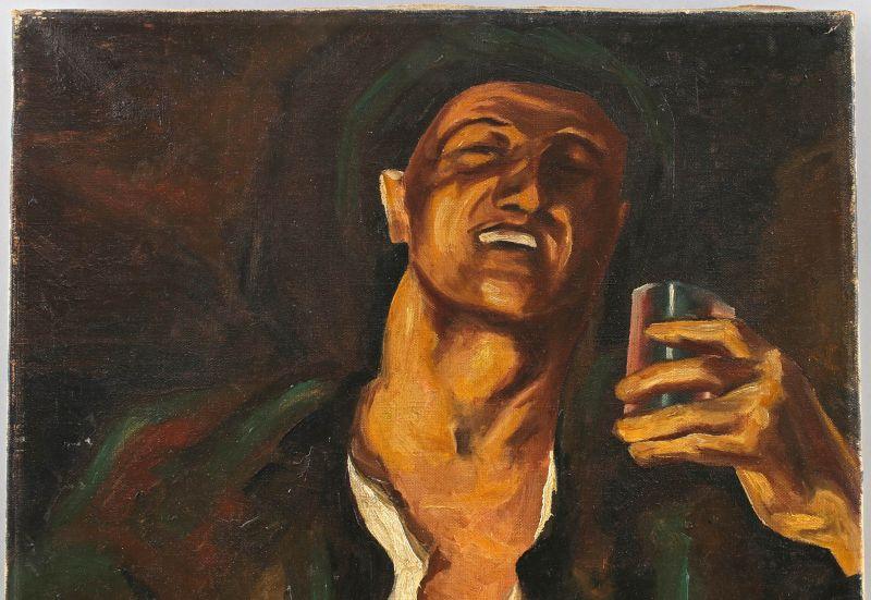 8360058 Öl-Gemälde Kopie nach Heinrich Krause Wein Bildnis eines Weintrinkers 1