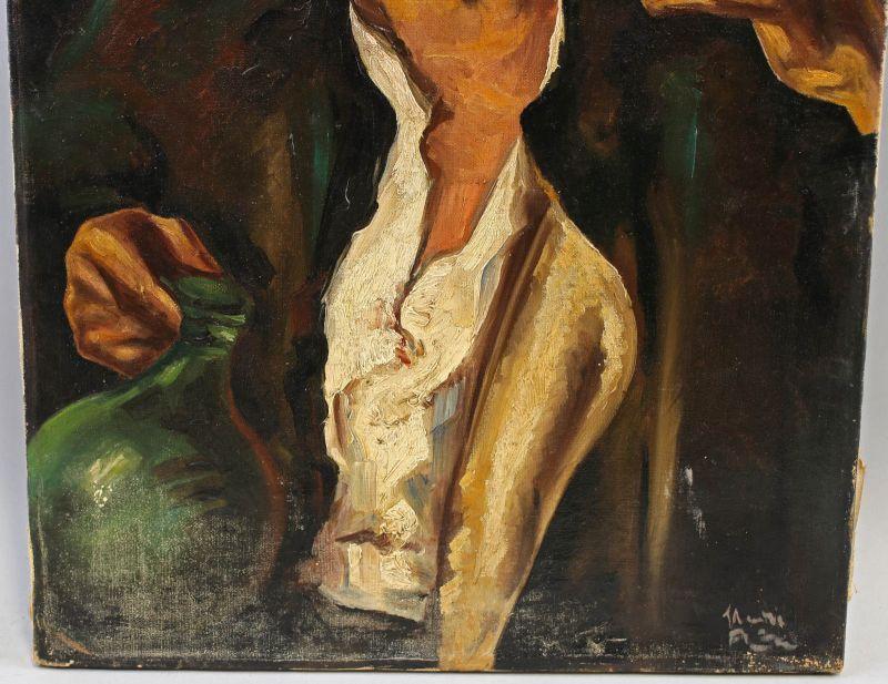 8360058 Öl-Gemälde Kopie nach Heinrich Krause Wein Bildnis eines Weintrinkers 2