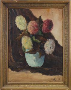 8360099 Ölgemälde signiert Wolfs Blumen-Stillleben Chrysanthemen 1943