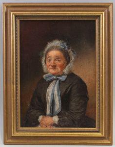 8360135 Öl-Gemälde Bildnis einer älteren Frau in Spitzenhaube Mitte 19. Jh.