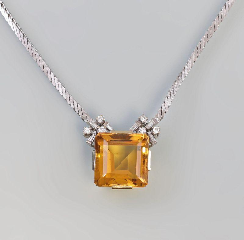 8325256 Brillant-Citrin-Collier 750er WG/GG Gold L 40 cm