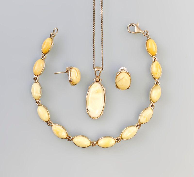 8325238 585er/333er Gold Bernstein Butterscotch Armband Ohrringe Anhänger
