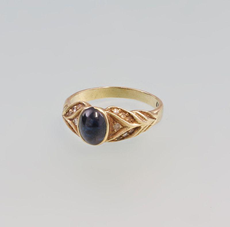 8325189 Saphir-Brillant-Ring 585er Gold Gr. 58
