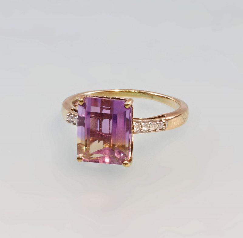 8325349 Amethyst-Brillant-Ring 375er GG Gold Gr. 58