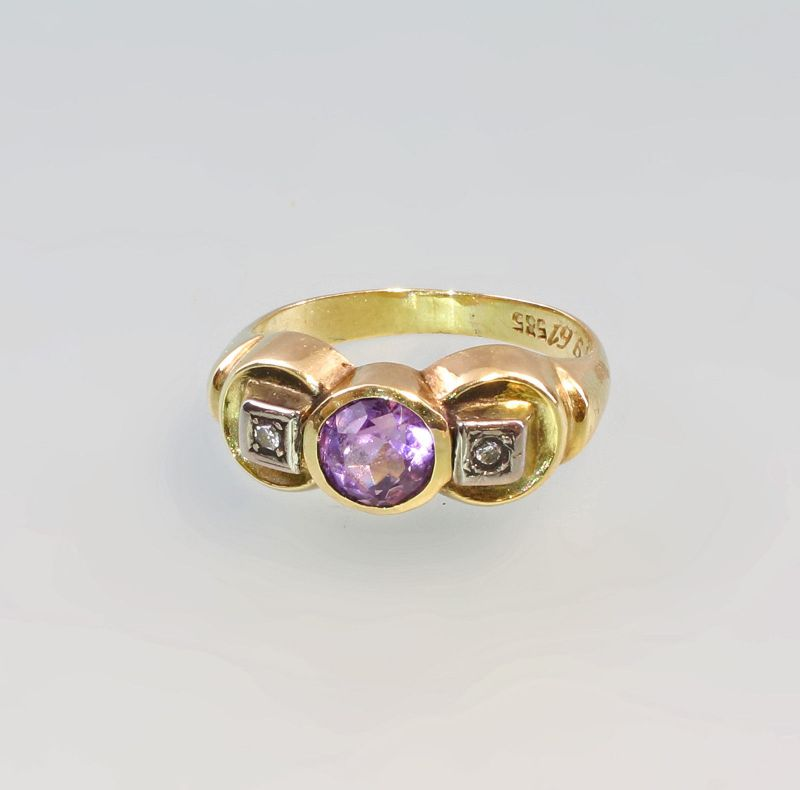 8325348 Amethyst-Brillant-Ring 585er GG Gold Gr. 49/50