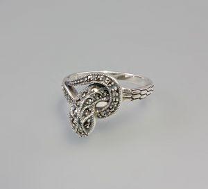 9903028 925er Silber Ring mit Markasiten Schlange Gr.54