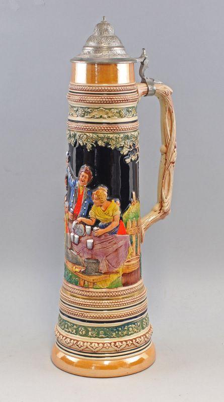 8348049 Riesiger Relief-Bierkrug H60cm handbemalt