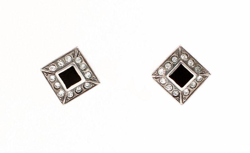 9901492 Onyx-Ohrringe Ohrstecker mit Swarovski-Steinen geometrisch 0