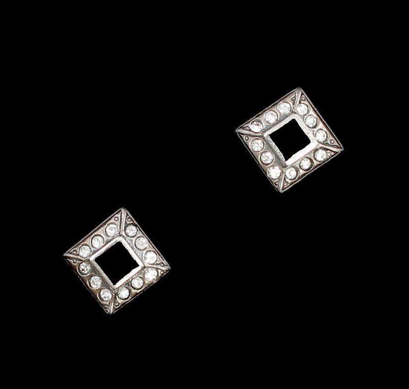 9901492 Onyx-Ohrringe Ohrstecker mit Swarovski-Steinen geometrisch 1