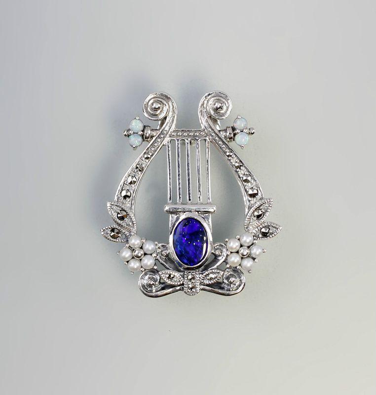 Dunkelblaue Opal-Brosche/Anhänger Lyra 925er Silber 9927230