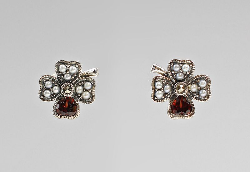 925er Silber Granat-Perlen-Ohrstecker 9927248