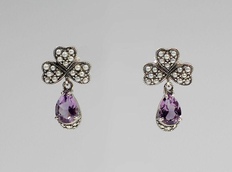 925er Silber Amethyst-Perlen-Ohrringe 9927276