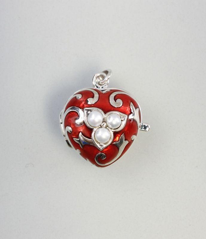 925er Silber Rot emaillierter Medaillon-Anhänger Herz mit Perlchen 9927233