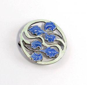 925er Silber florale emaillierte Jugendstil Brosche 9901580