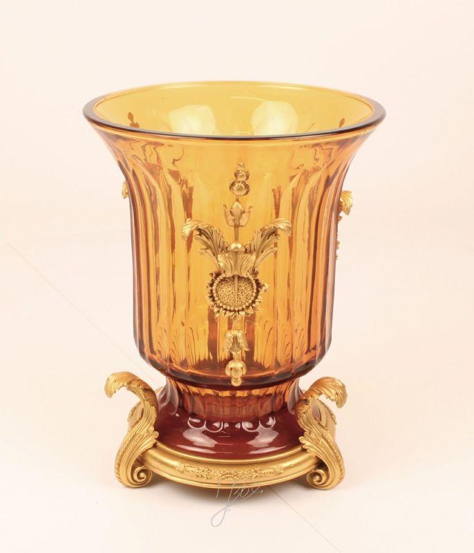 Glas Vase mit Bronzemontierung goldgelb Historismus prunkvoll neu 99937972-dss