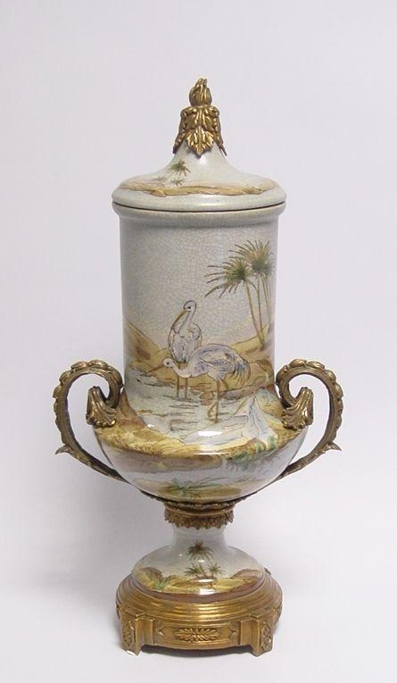 Messing Keramik Amphore Vase Störche Jugendstil prunkvoll neu 99937870-dss