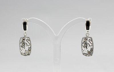 925er Silber Onyx-Ohrstecker mit Filigran-Abhängung  Neu  9907074