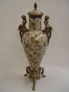 Messing Keramik Deckel-Amphore Vase Putto Historismus prunkvoll neu 99937875-dss