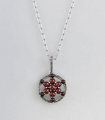 925er Silber Granat-Collier Stern  Neu  9907096