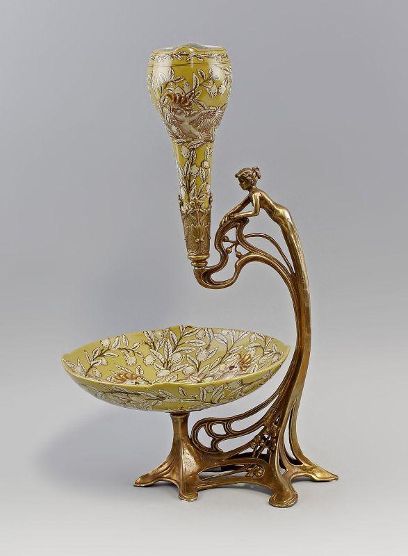 Tafelaufsatz Obstschale mit Blumenvase Keramik Bronze 9937465