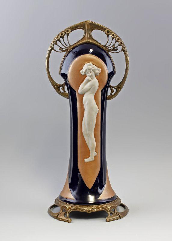 Tafelaufsatz Jugendstil kobalt Akt  Keramik Bronze 9937466