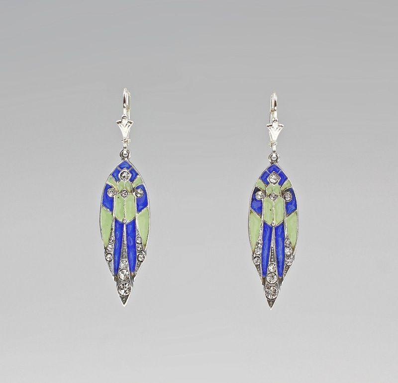Ohrringe Swarovski-Steine emailliert Art ceco-Stil 9901272