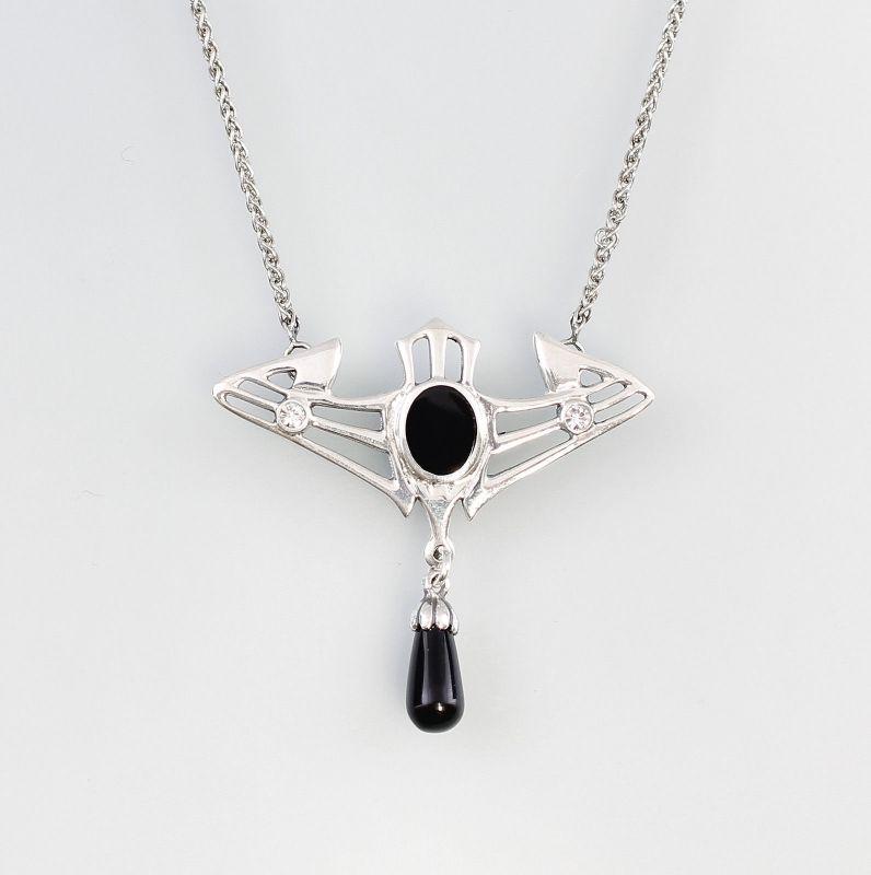 Jugendstil Collier mit Swarovski-Steinen u. Onyx 9901325