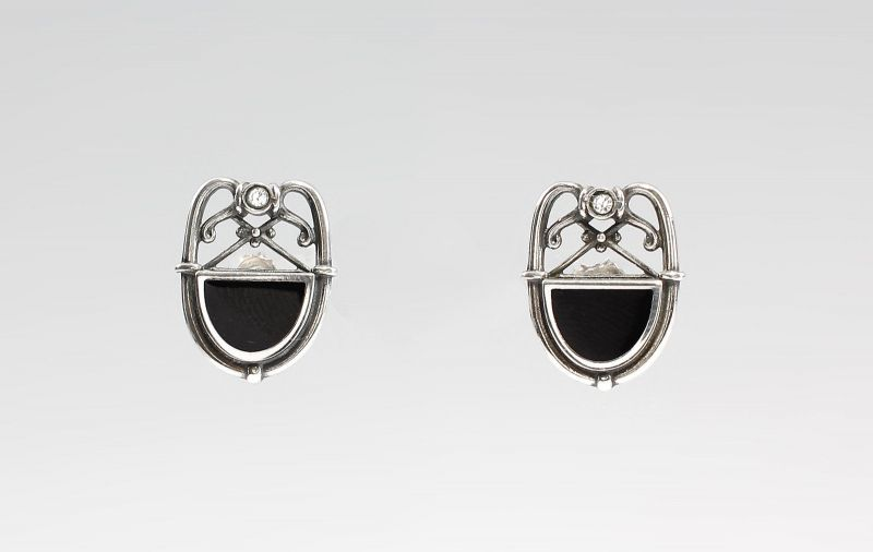Ohrstecker Art deco-Stil Swarovski-Stein Onyx 9901304