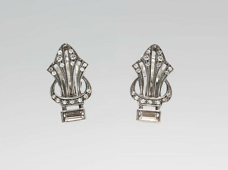 Ohrclipse Art deco-Stil  Swarovski-Steine 9901308