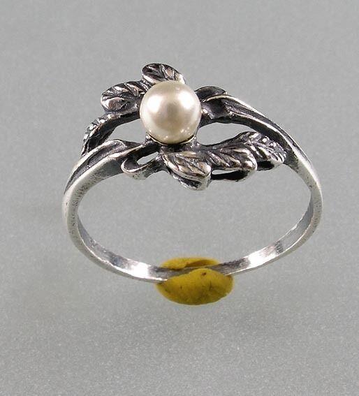 925er Silber Floraler Ring mit Perle Gr. 50 NEU 9901043