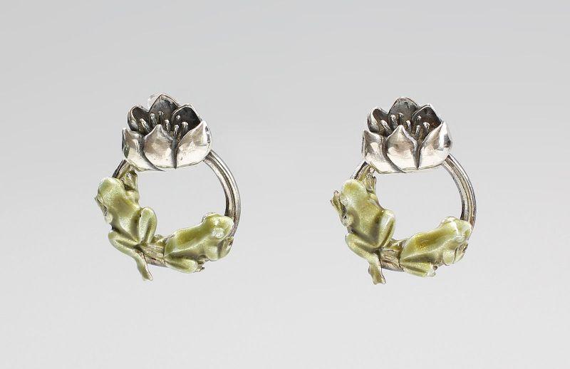 Emaillierte Frosch-Ohrringe 925er Silber 9901263