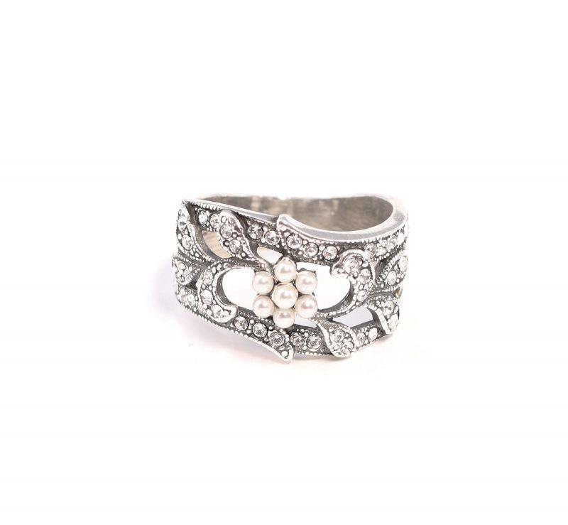 925er Silber Ring mit Swarovski-Steinen u. Perlen Gr. 55 floral 9901364