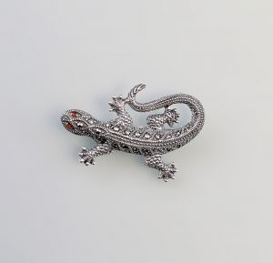 925er Silber Brosche Eidechse Granat Markasiten  9927530