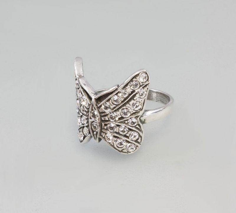 925er Silber Schmetterlings-Ring mit Swarovski-Steinen 9901029