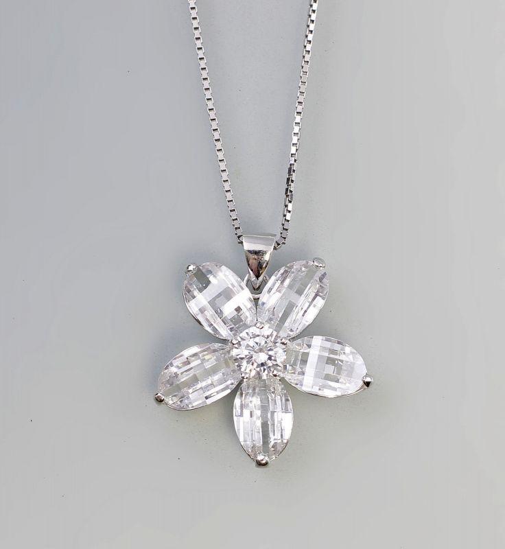 925er Silber Blüten-Anhänger mit Kette 99825394