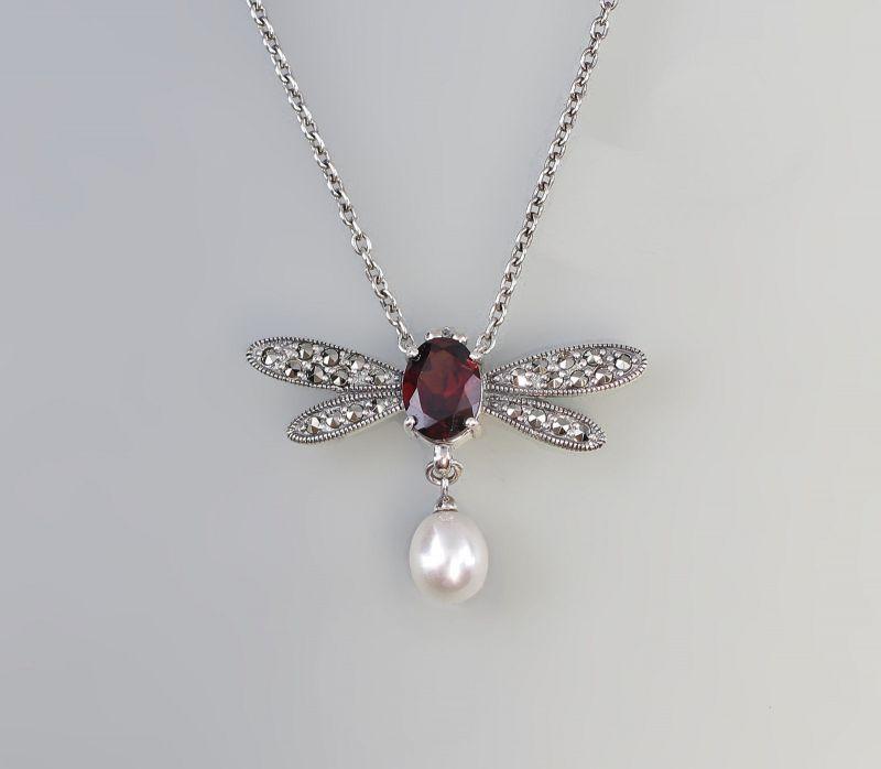 925er Silber Granat Markasiten  Zuchtperle Collier Kette 9927495