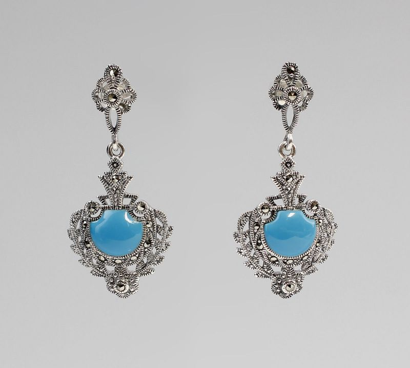 925er Silber Türkis-Ohrringe mit Markasiten 9927243