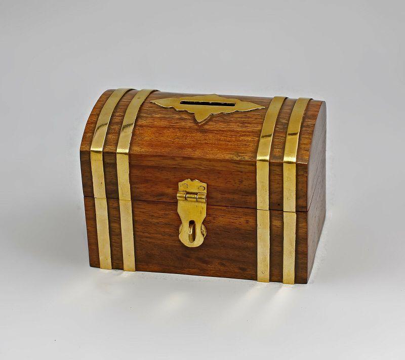 Spardose Truhe klein Holz/Messing 9977053
