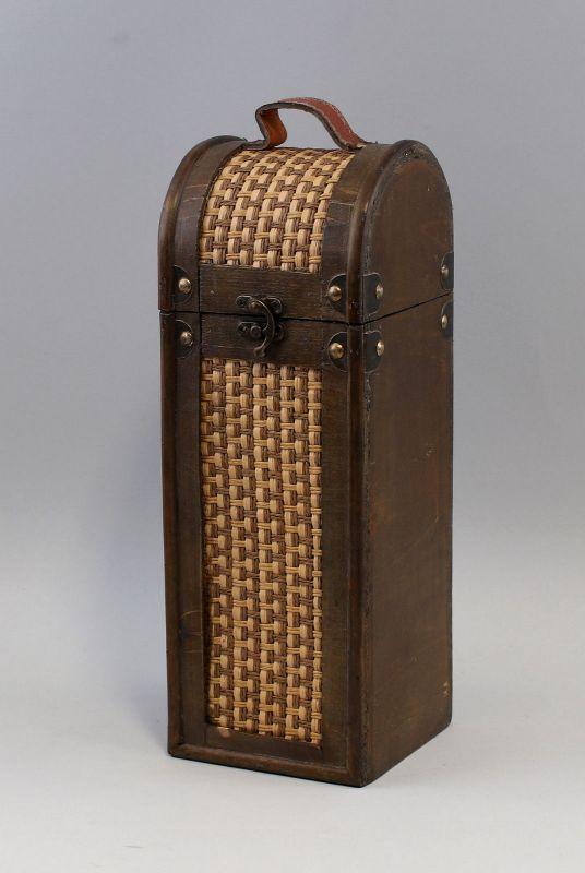 9977056  Weinständer Flaschen-Koffer Schatulle Tragetasche 12x12x35cm